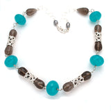 large luscious Handcarved sterling heart barrel Beads, Smoky quartz, blue agate ,Artist anna biggs, Delaware