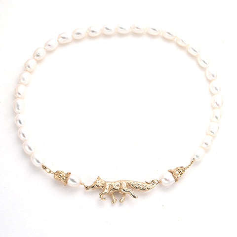 Hand carved gold fox necklace with white pearls