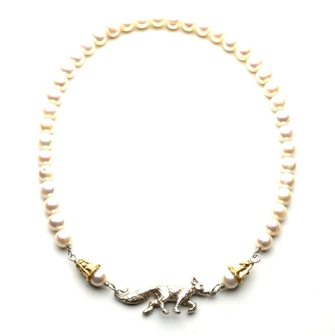 18 inch pearl necklace with sterling hand-sculpted running fox flanked by gold flowers