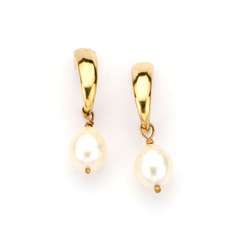 handmade smooth gold half hoop earring with white pearl drop