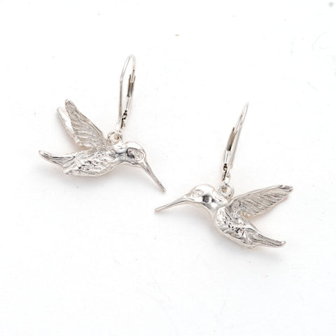 Light sterling silver hummingbird Drop earrings on French lever ear wires, handcarved, artist anna biggs, Delaware