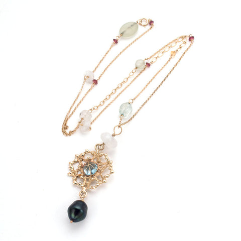 Gold Filigree pendant on delicate chain, sky blue topaz center, black pearl drop, tiny stone accents