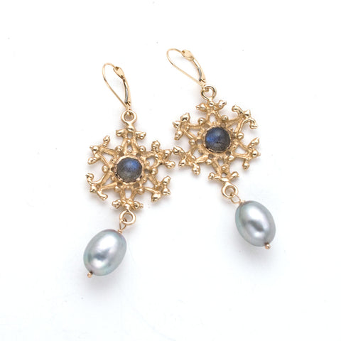 lever-back earrings, gold open filigree circles, iolite cabochon at center, dove gray pearl drop