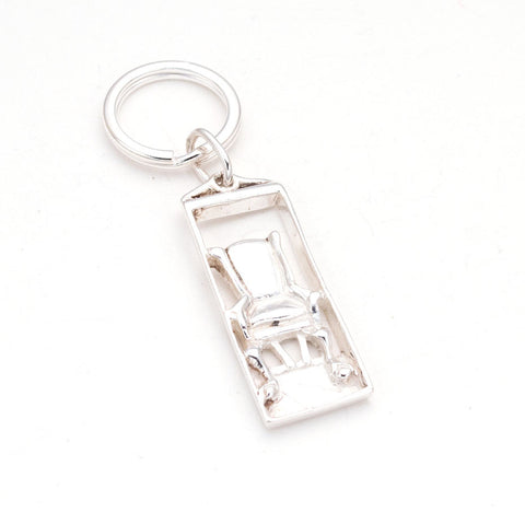 Fun & elegant Sterling Framed easy chair charm Keyring, hand carved by artist Anna Biggs, Delaware