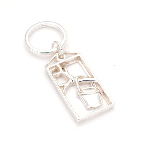 Fun & elegant Sterling Framed Bucket in tree charm Keyring, hand carved by artist Anna Biggs, Delaware