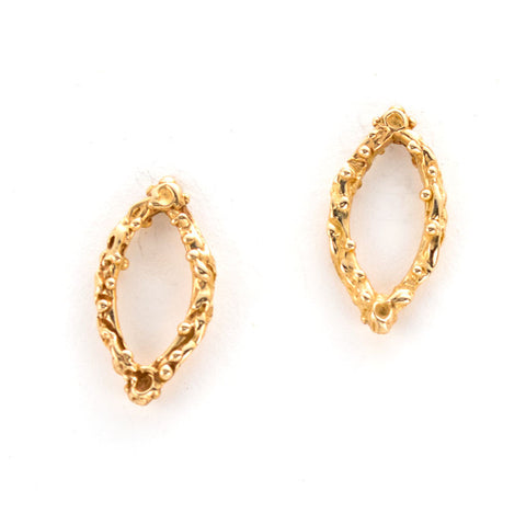 classic gold post earrings, almond shape, open in the middle