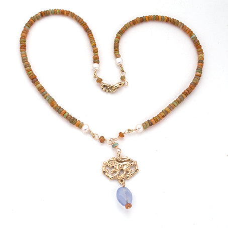Harlequin opal 14kt  Lion Necklace