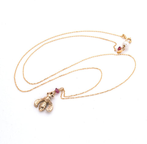 hand carved gold bumblebee charm on delicate gold chain with Rhodolite garnet accents