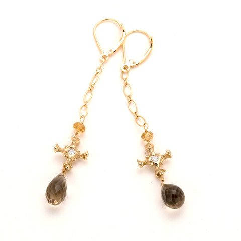 Beautiful handmade gold, diamond, smoky quartz drop earrings