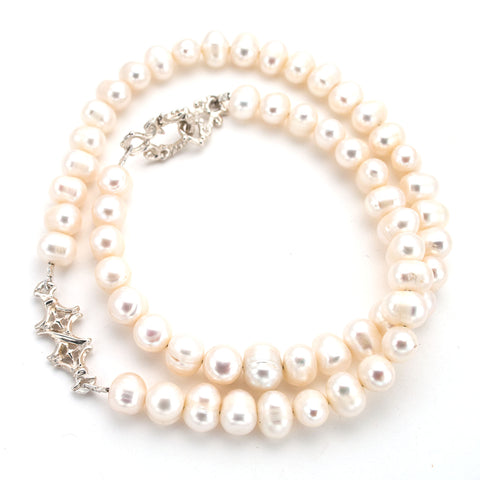 "Long ""X"" Pearl Strand Necklace"