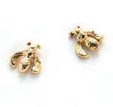 14 karat gold, little bee post earrings, hand carved