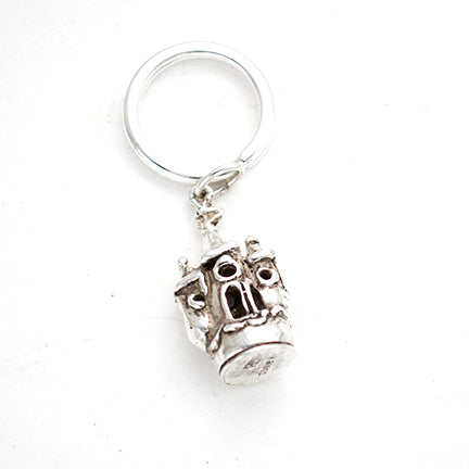 Children's Beach House Sterling sand castle charm Keyring, hand carved by artist Anna Biggs, Delaware