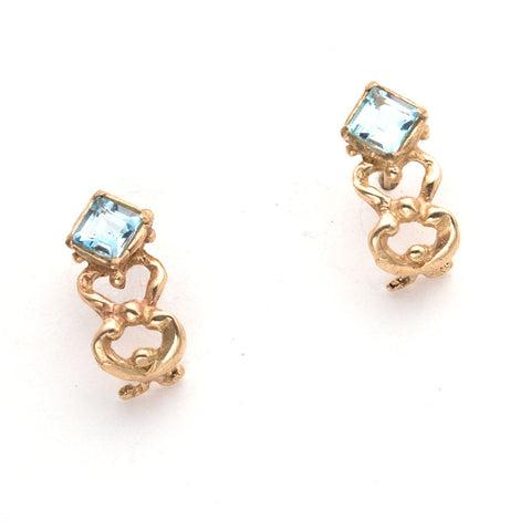 gold half hoop post earrings, square sky blue topaz at top, open weave gold hoop below