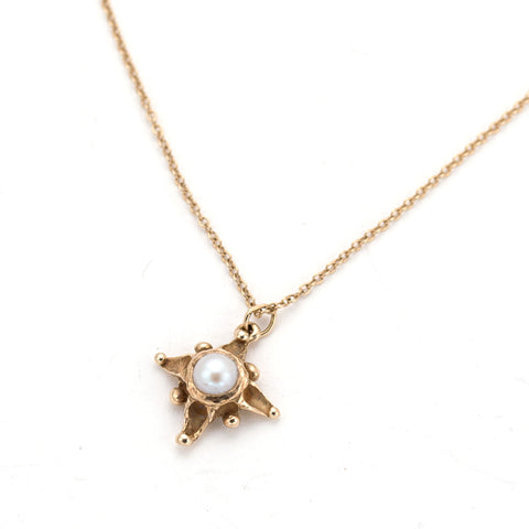 Delicate 14 karat gold & pearl handcarved star necklace- Artist Annabiggs handmade in Wilmington Delaware