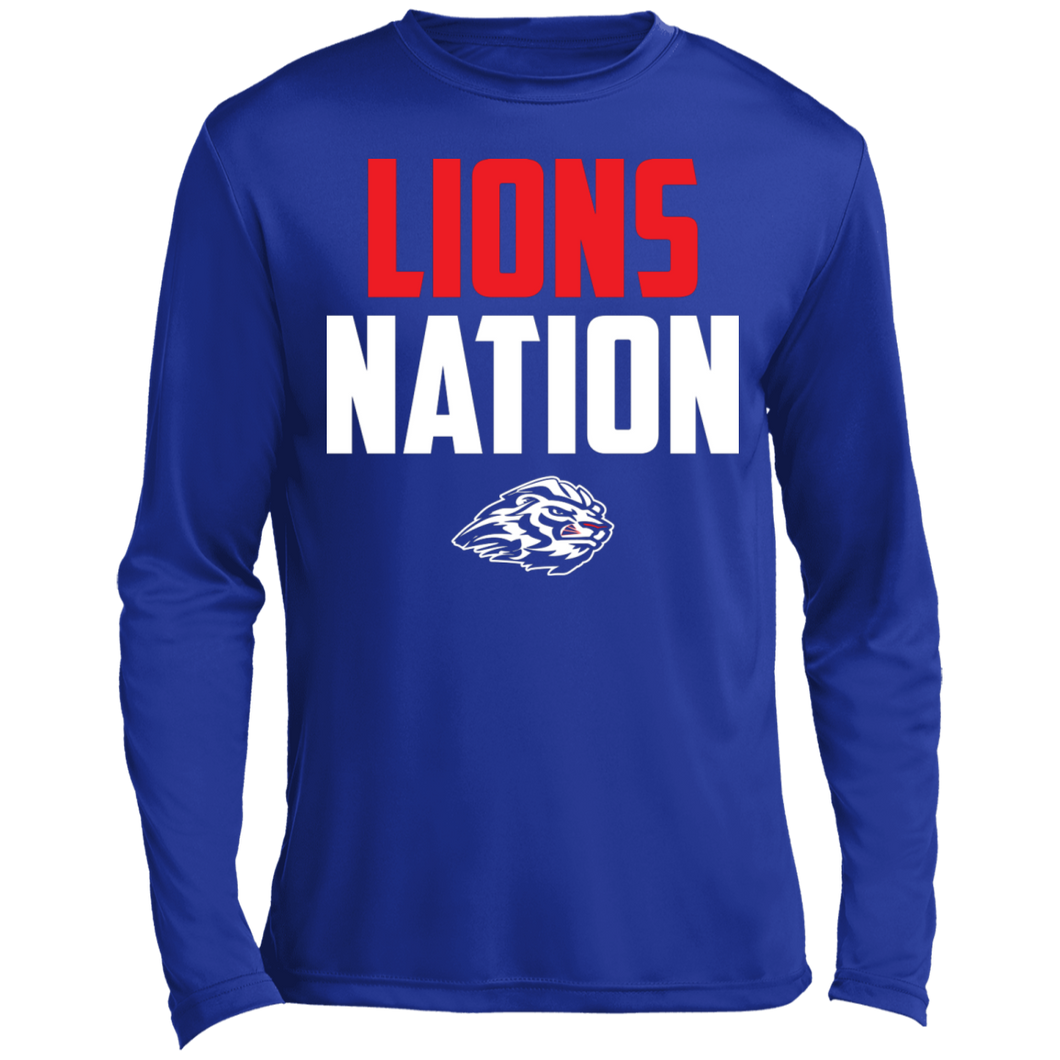 Lions Nation Long sleeve Moisture Absorbing T-Shirt