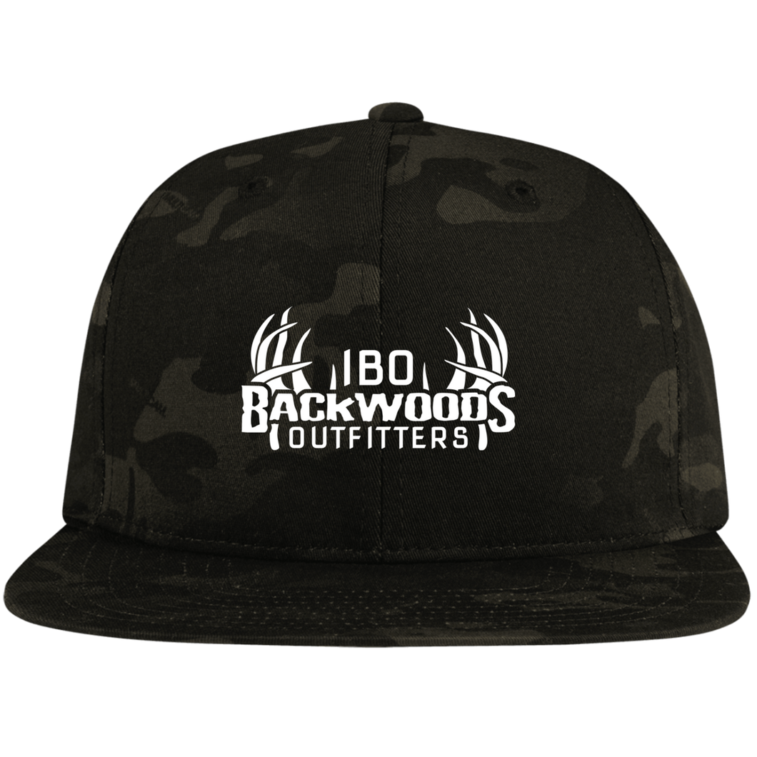 IBO White Logo Flat Bill High-Profile Snapback Hat