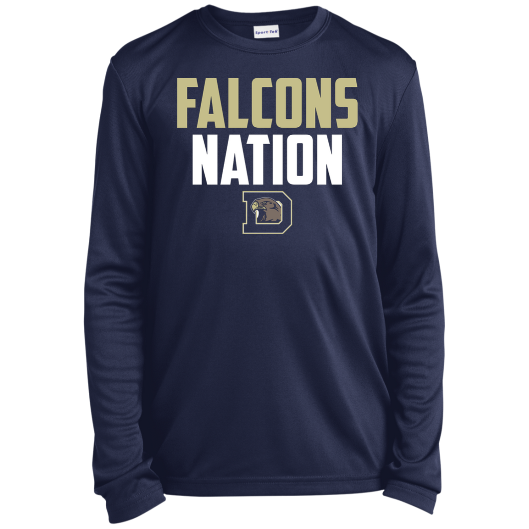 Falcons Nation Youth Long Sleeve Moisture-Wicking T-Shirt