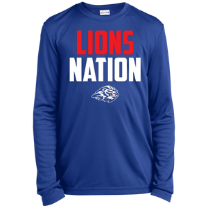 Lions Travel Ball Nation Youth Long Sleeve Moisture-Wicking T-Shirt