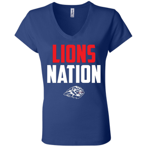Lions Travel Ball Nation Ladies' Jersey V-Neck T-Shirt