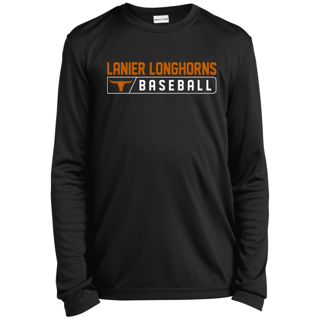 Lanier Longhorns Bar Logo Youth Long Sleeve Moisture-Wicking T-Shirt