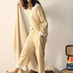 lace plaid/sun flower print cotton pajamas home suits