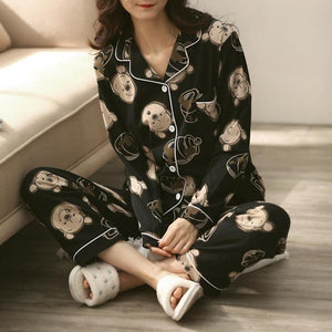 lovely bear print cotton home suits