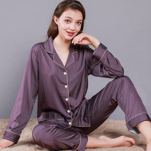 chic couple silk pajamas suits