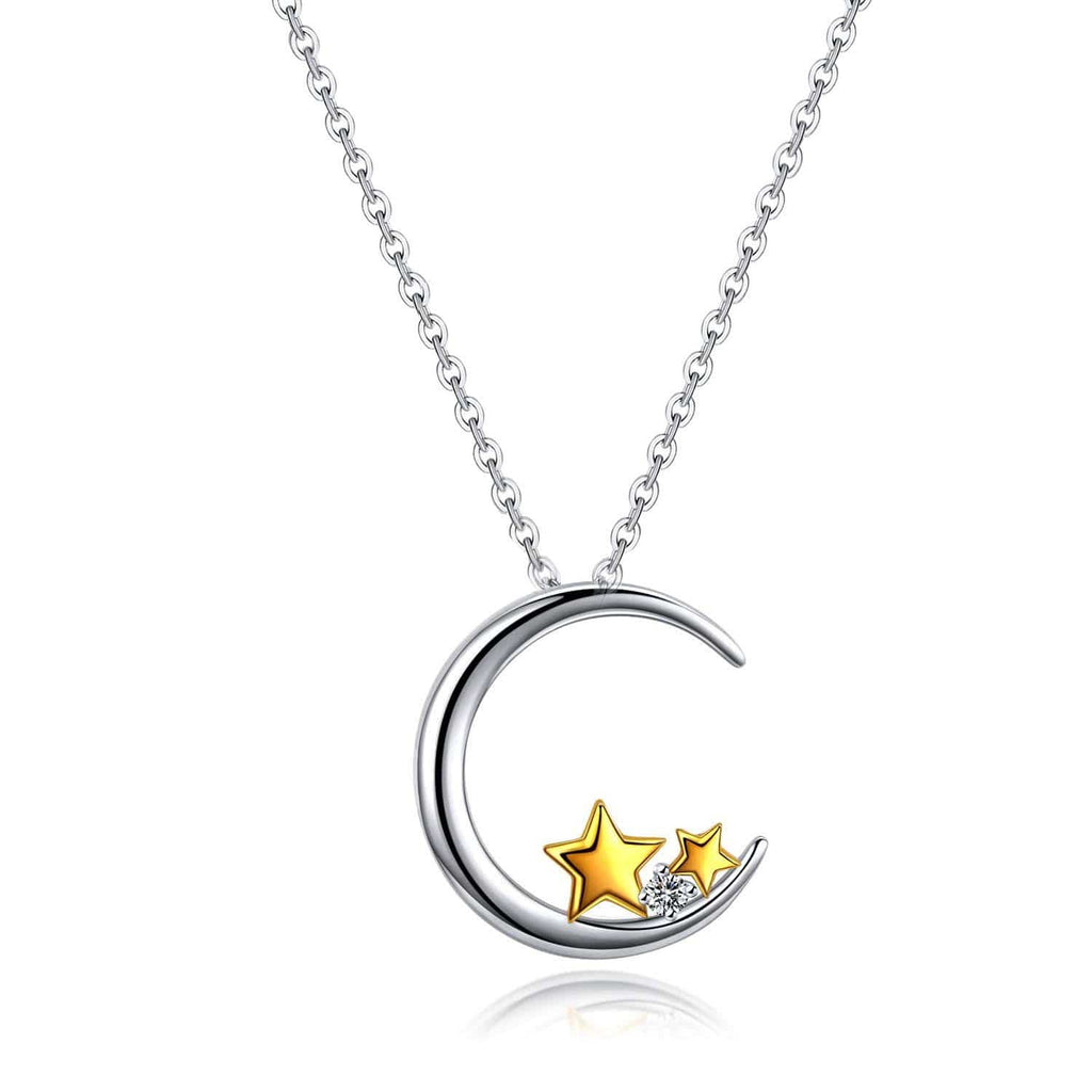 S925 sterling silver moon star necklace with diamonds