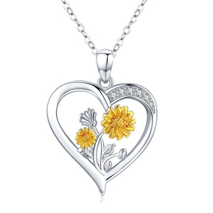 S925 sterling silver heart necklace with diamond sunflower pendant