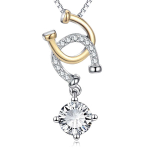 S925 sterling silver creative U-word micro-inlaid pendant necklace