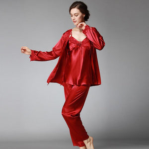 Three-piece silk pajamas suspenders long-sleeved trousers