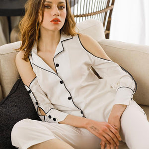 Sexy pajamas off-the-shoulder silk two-piece home suit