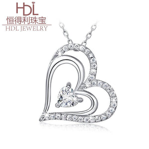 S925 creative and stylish sterling silver necklace with double heart