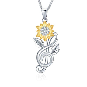 S925 sterling silver notes & sunflower design personality necklace