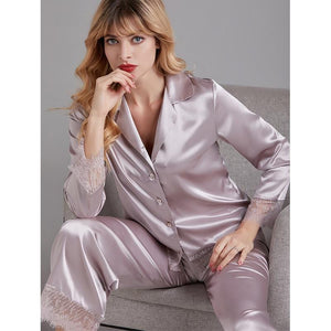 New Silk Long Sleeve Lace Pajama Set
