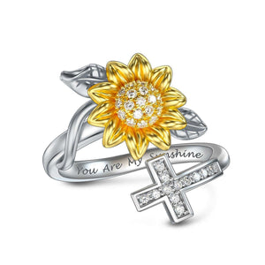 S925 sterling silver sunflower design with diamond ring