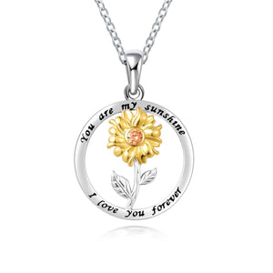 S925 sterling silver creative personality sunflower pendant necklace
