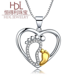 S925 sterling silver personalized love mother and child foot design necklace