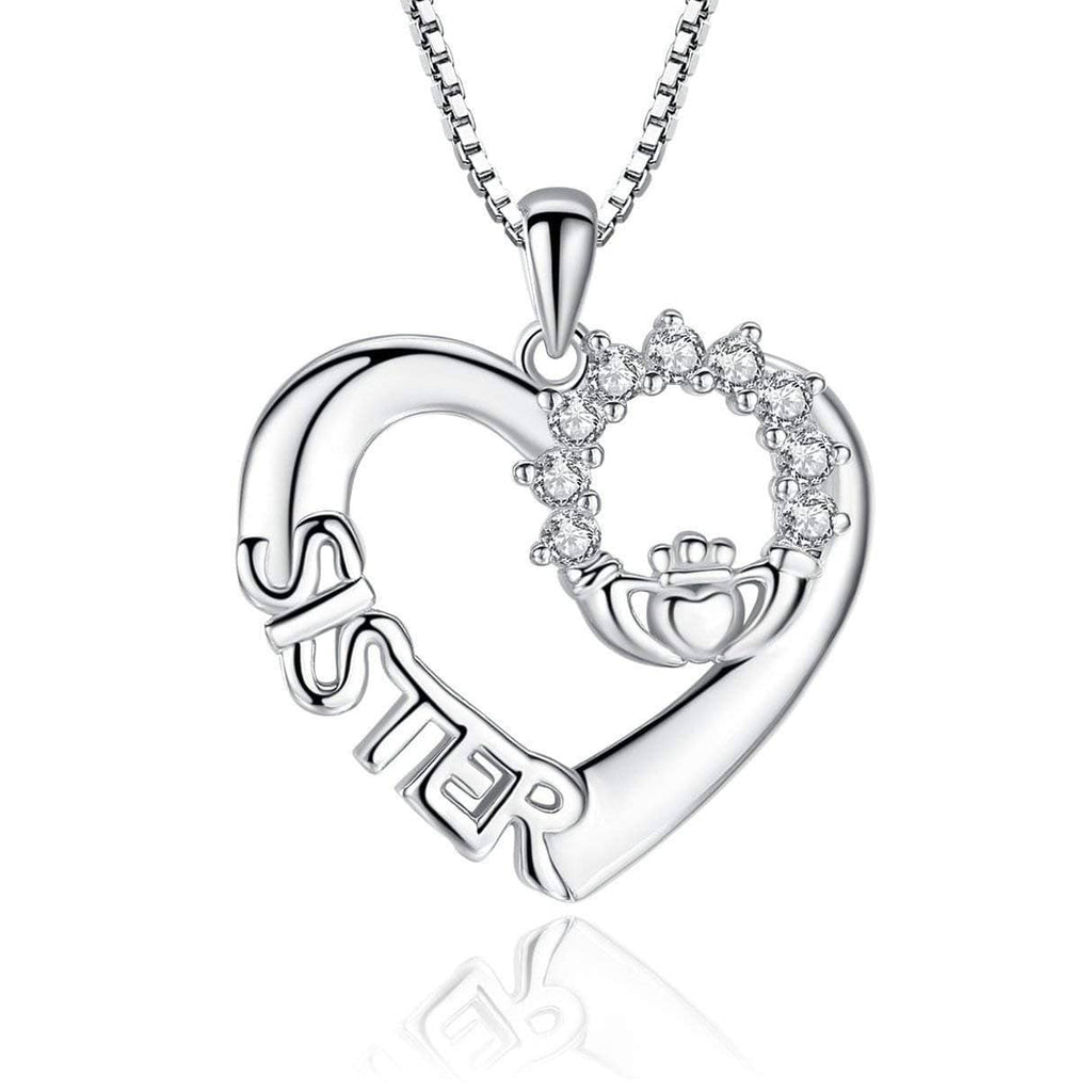 S925 sterling silver character 'SISTER' design necklace