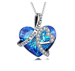 S925 creative micro-inset Austrian Swarov-element crystal love necklace