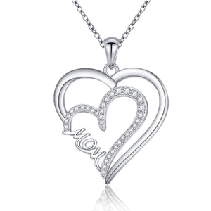 S925 sterling silver double heart zircon necklace