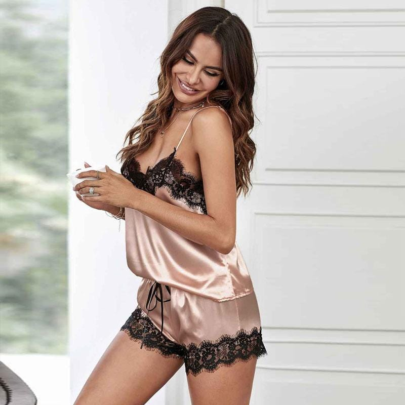 Silk Lace Solid Sleeveless Sleepwear