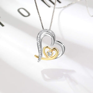 S925 sterling silver personalized double heart design pendant necklace