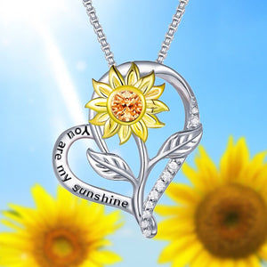 S925 sterling silver sunflower necklace