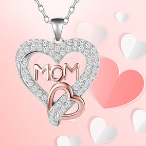 S925 sterling silver heart-shaped necklace with diamond design for mom