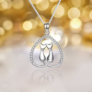 S925 sterling silver fashion creative 'love + moon + cat' collarbone chain