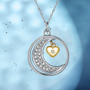 S925 sterling silver fashion moon heart design necklace encrusted with diamond