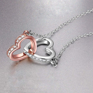 S925 sterling silver fashion double love heart micro-inlaid necklace