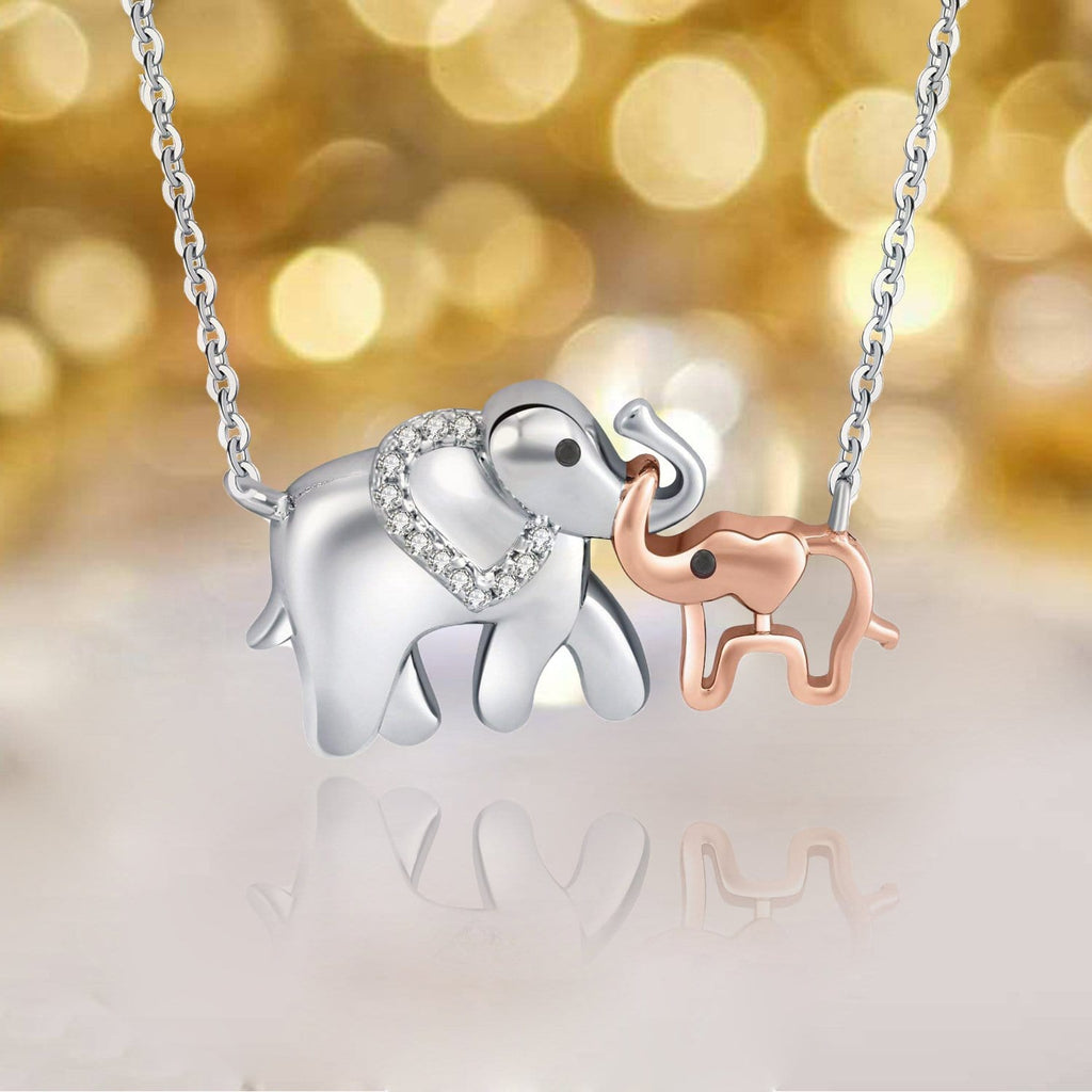 S925 sterling silver mother-child elephant necklace inlaid with diamonds