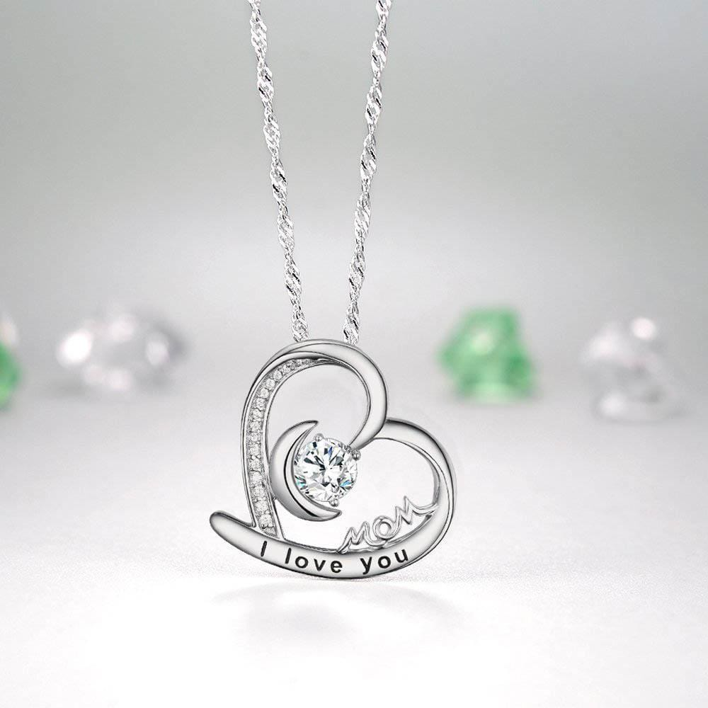 S925 sterling silver love heart with I love you necklace for ladies holiday gift jewelry